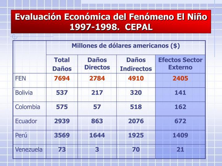 Evaluación Económica del Fenómeno El Niño 1997-1998.  CEPAL