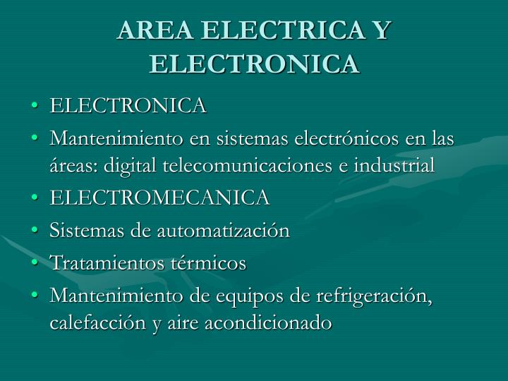 AREA ELECTRICA Y ELECTRONICA