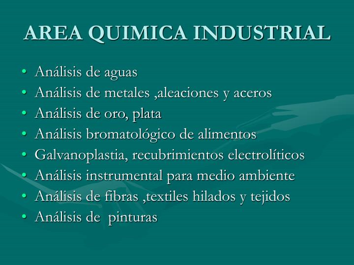 AREA QUIMICA INDUSTRIAL