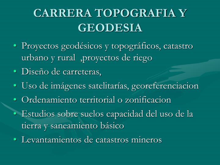 CARRERA TOPOGRAFIA Y GEODESIA
