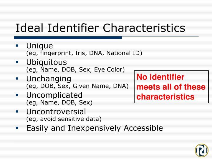Ideal Identifier Characteristics