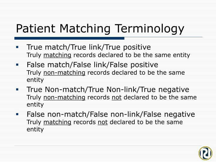 Patient Matching Terminology
