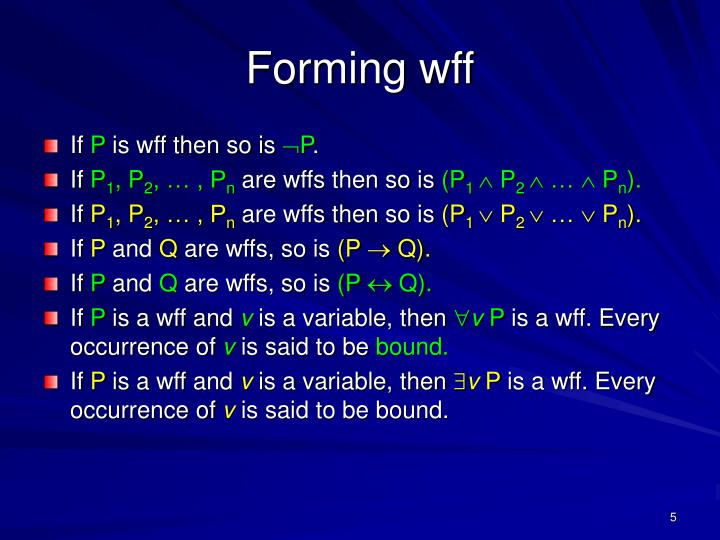 Forming wff