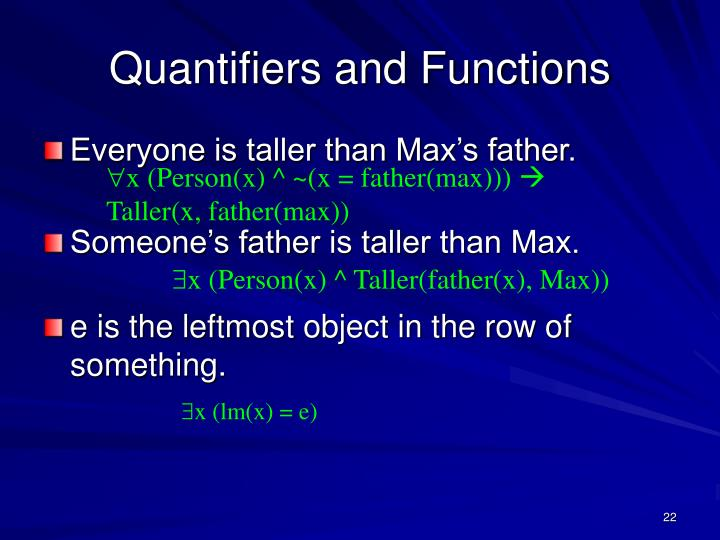 Quantifiers and Functions