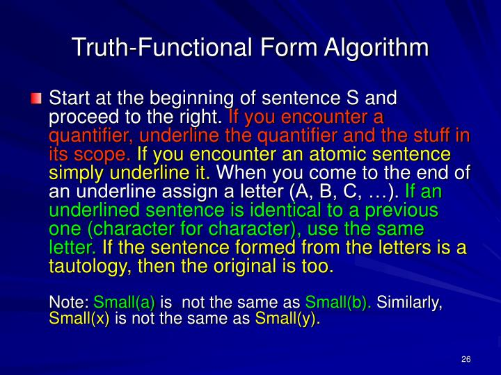 Truth-Functional Form Algorithm