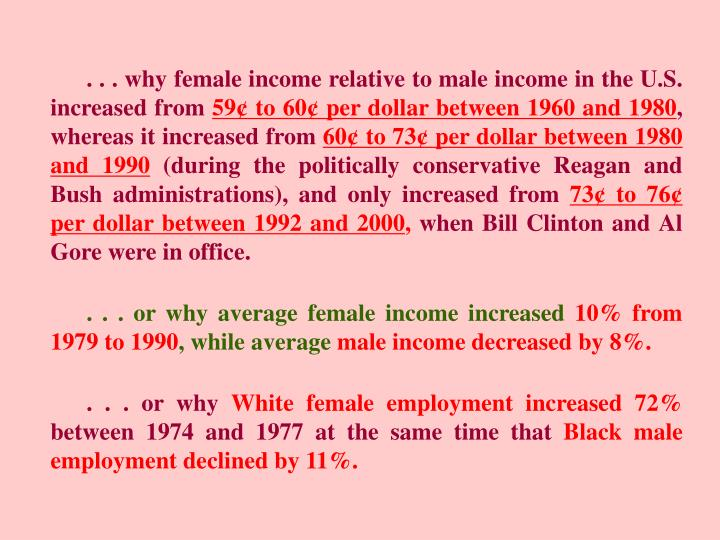 . . . why female income relative to male income in the U.S. increased from