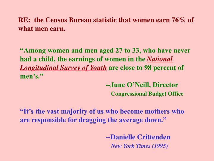 RE:  the Census Bureau statistic that women earn 76% of what men earn.
