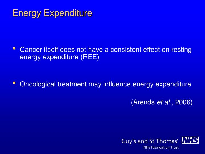 Cancer itself does not have a consistent effect on resting energy expenditure (REE)
