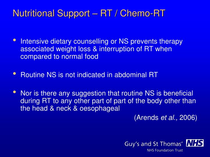 Intensive dietary counselling or NS prevents therapy associated weight loss & interruption of RT when compared to normal food