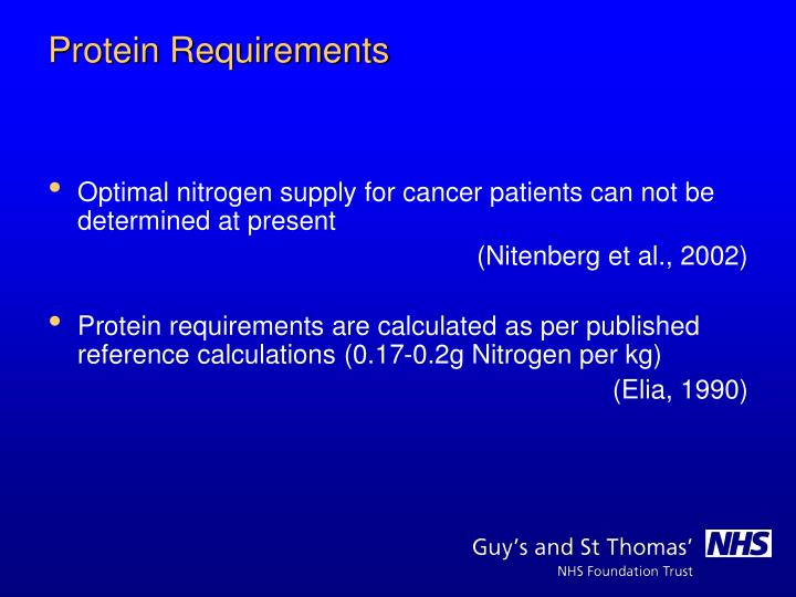 Optimal nitrogen supply for cancer patients can not be determined at present