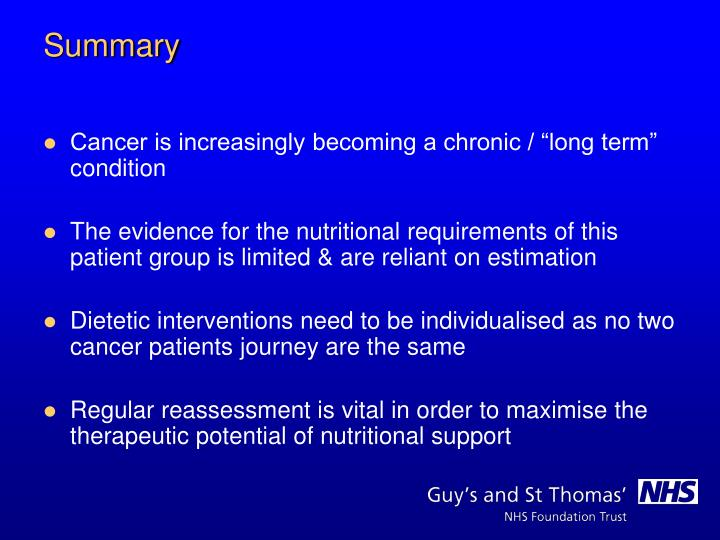 "Cancer is increasingly becoming a chronic / ""long term"" condition"