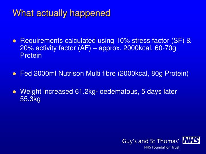Requirements calculated using 10% stress factor (SF) & 20% activity factor (AF) – approx. 2000kcal, 60-70g Protein