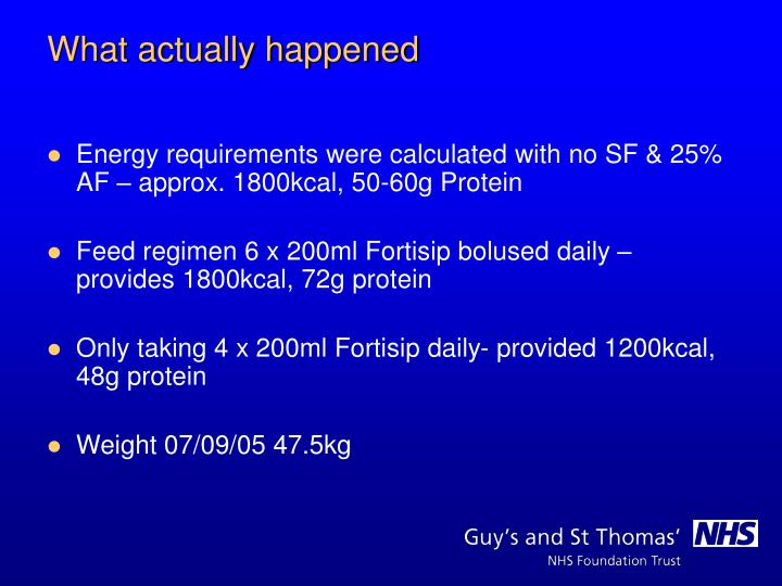 Energy requirements were calculated with no SF & 25% AF – approx. 1800kcal, 50-60g Protein