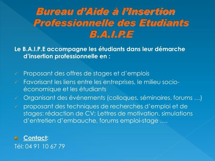 Bureau d'Aide à l'Insertion Professionnelle des Etudiants