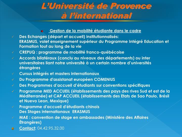 L'Université de Provence