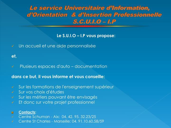 Le service Universitaire d'Information,  d'Orientation  & d'Insertion Professionnelle