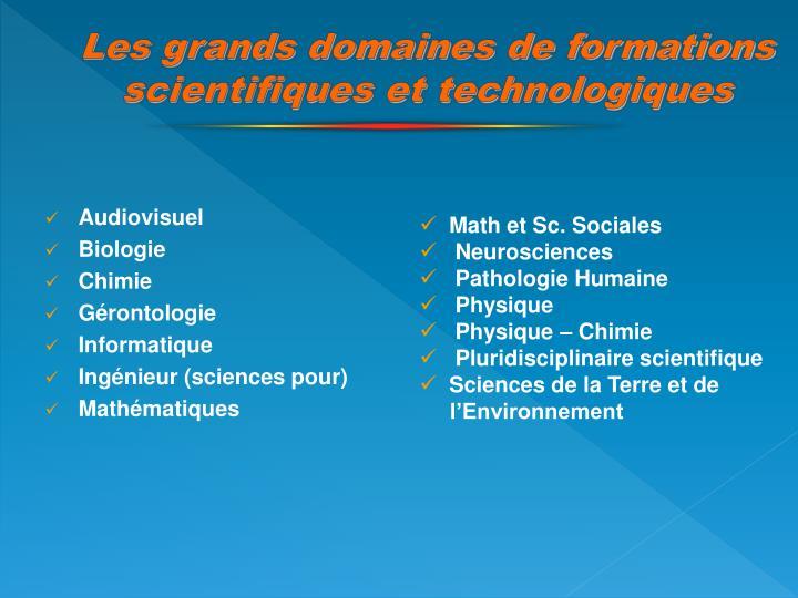Les grands domaines de formations scientifiques et technologiques