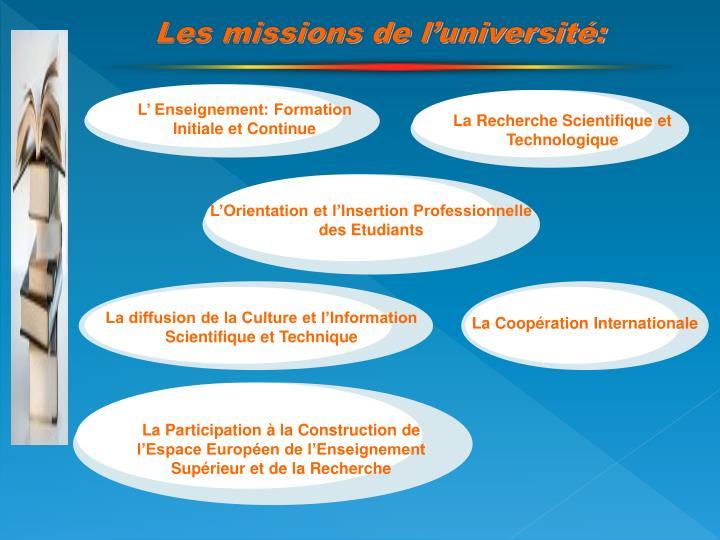 Les missions de l'université: