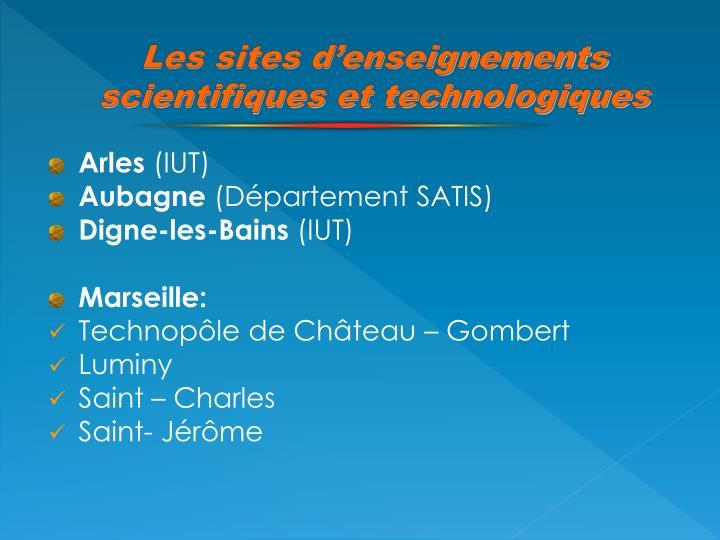 Les sites d'enseignements scientifiques et technologiques