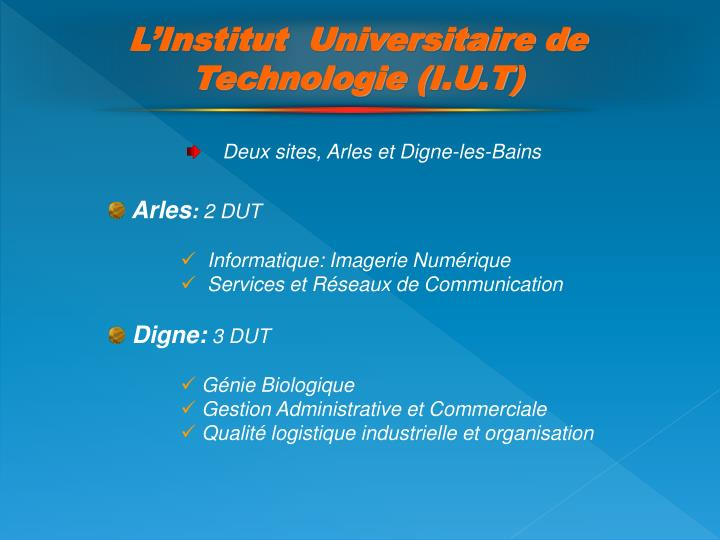 L'Institut  Universitaire de Technologie (