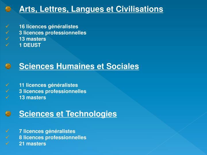 Arts, Lettres, Langues et Civilisations