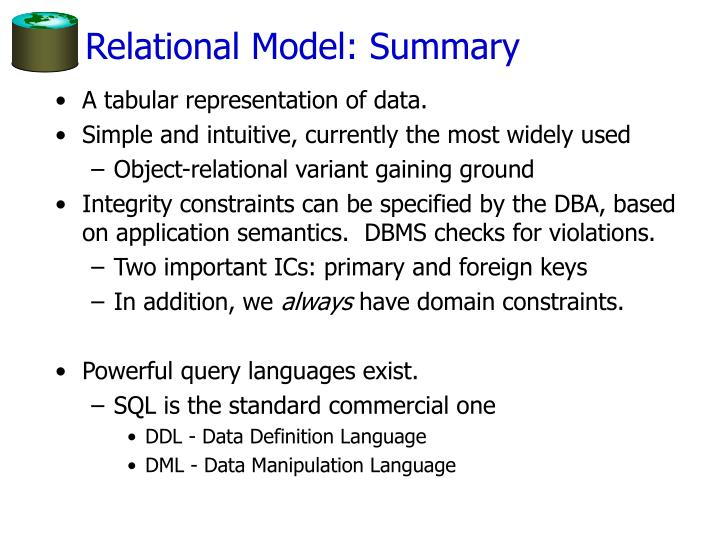Relational Model: Summary