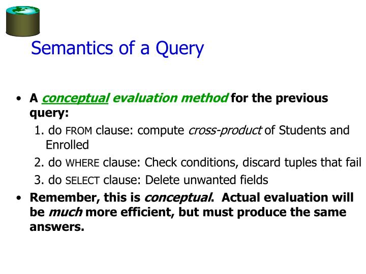 Semantics of a Query