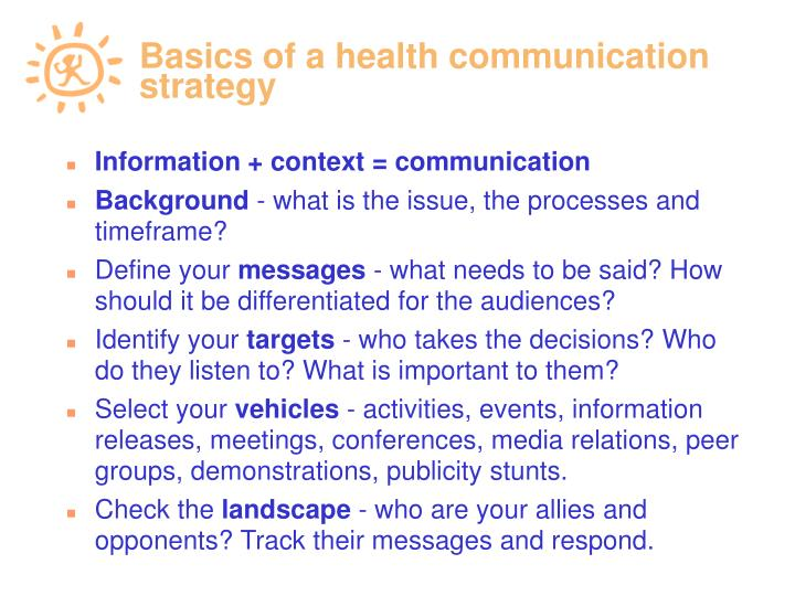 Basics of a health communication strategy