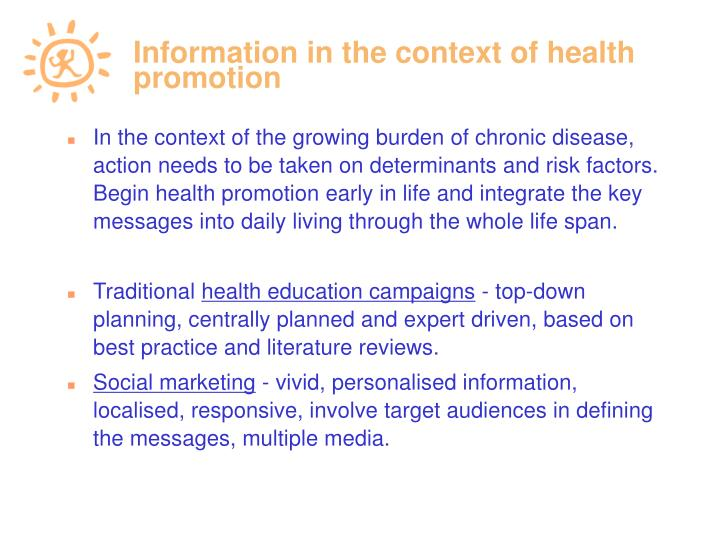 Information in the context of health promotion