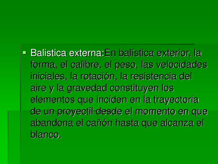 Balistica externa: