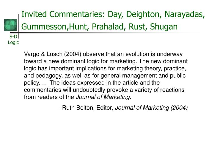 Invited Commentaries: Day, Deighton, Narayadas, Gummesson,Hunt, Prahalad, Rust, Shugan