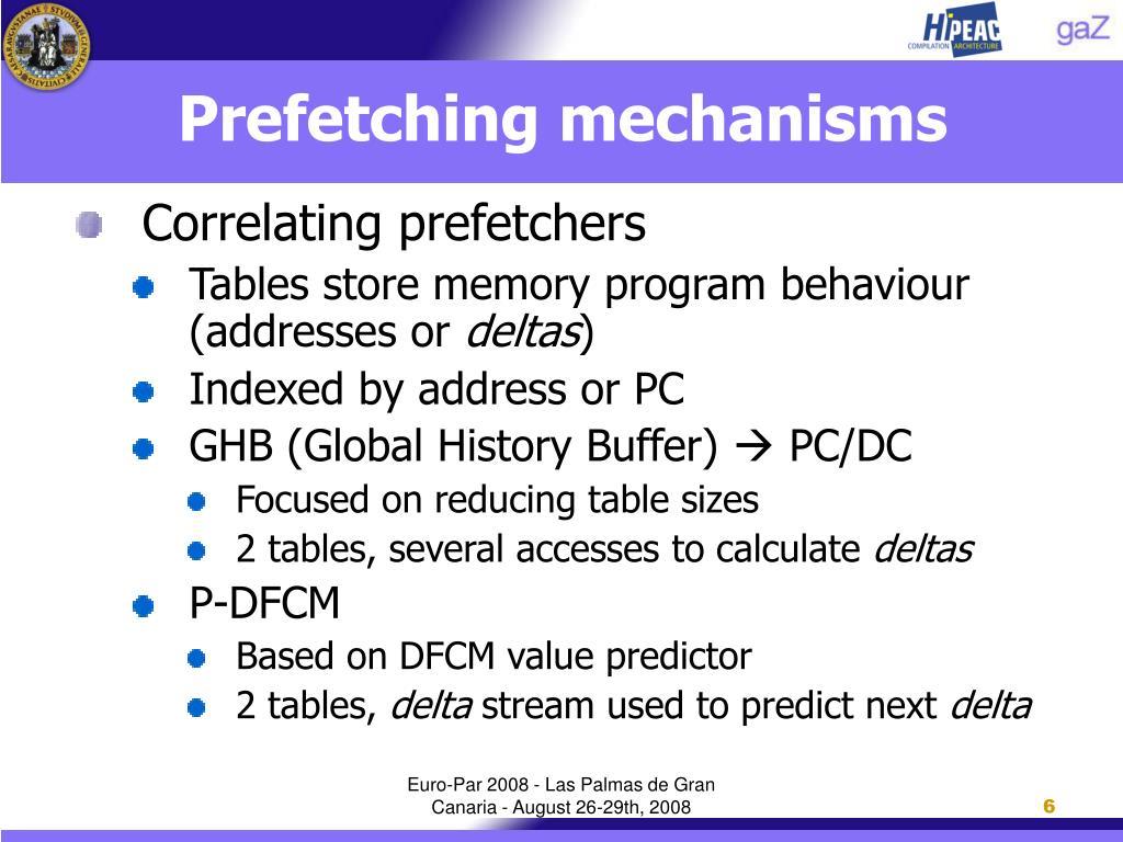 Prefetching mechanisms
