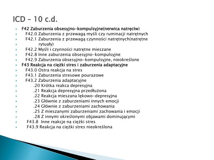 ICD – 10 c.d.