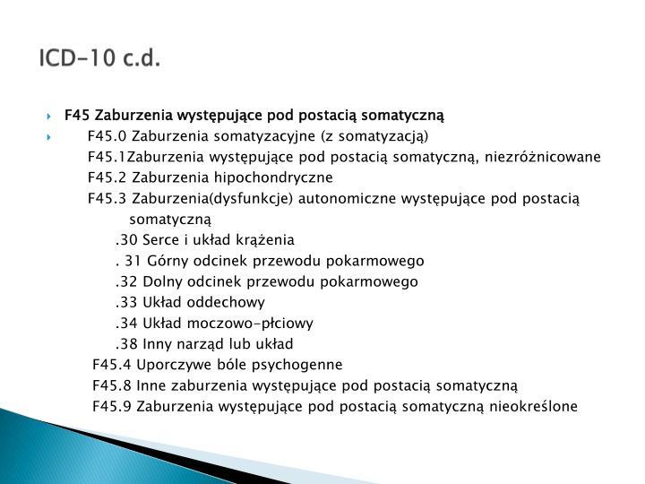 ICD-10 c.d.