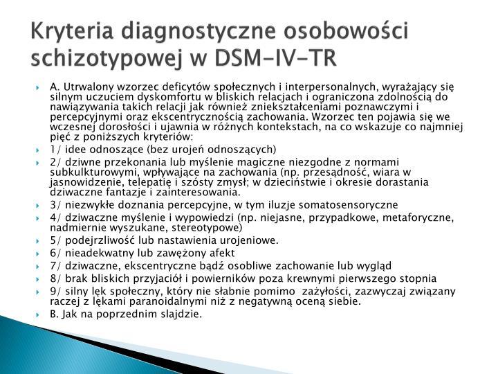 Kryteria diagnostyczne osobowoci