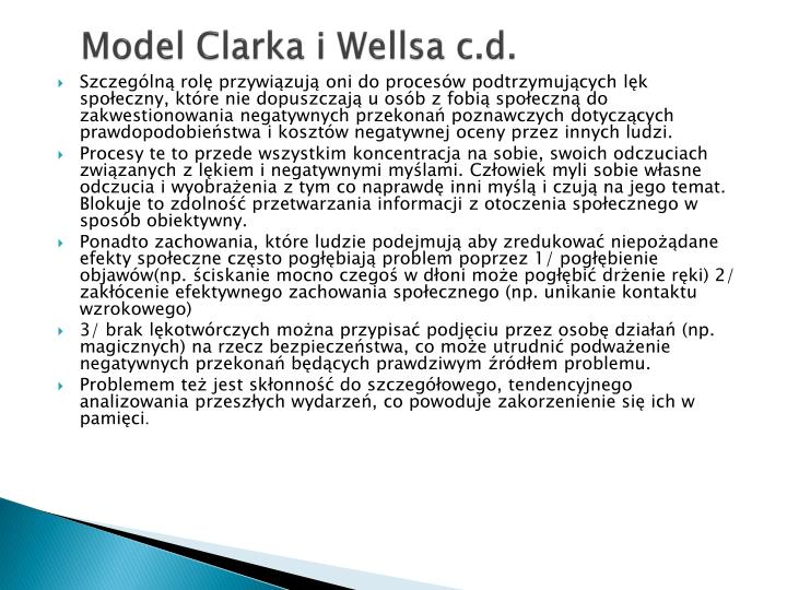 Model Clarka i Wellsa c.d.