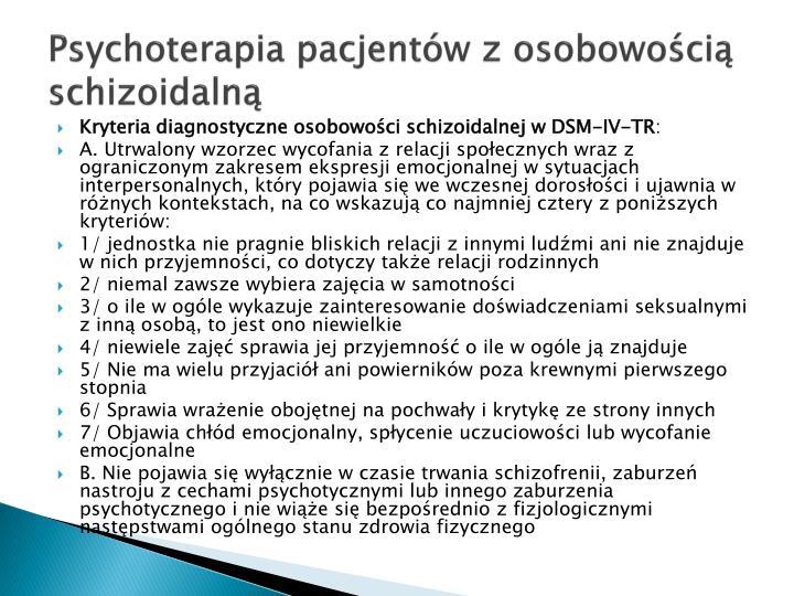Psychoterapia pacjentów z osobowością schizoidalną