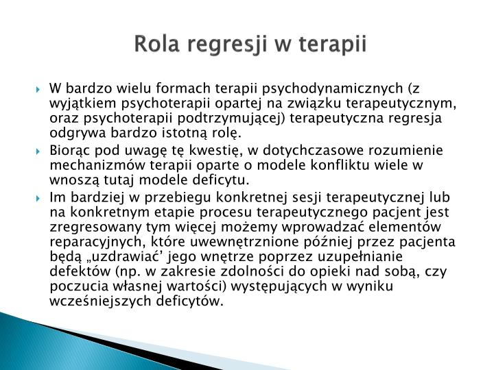 Rola regresji w terapii