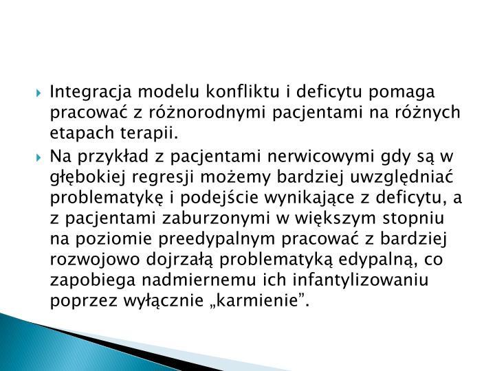 Integracja modelu konfliktu i deficytu pomaga pracowa z rnorodnymi pacjentami na rnych etapach terapii.