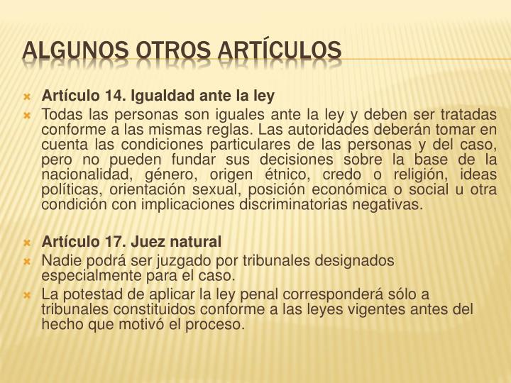 Artículo 14. Igualdad ante la ley