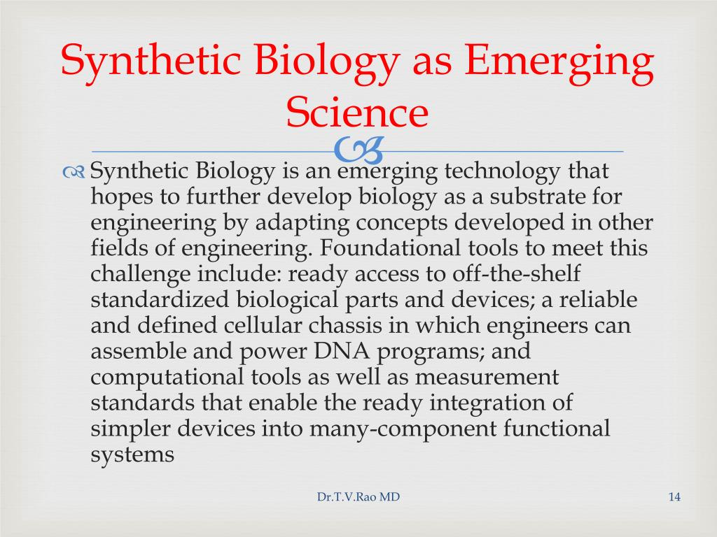 Synthetic Biology as Emerging Science