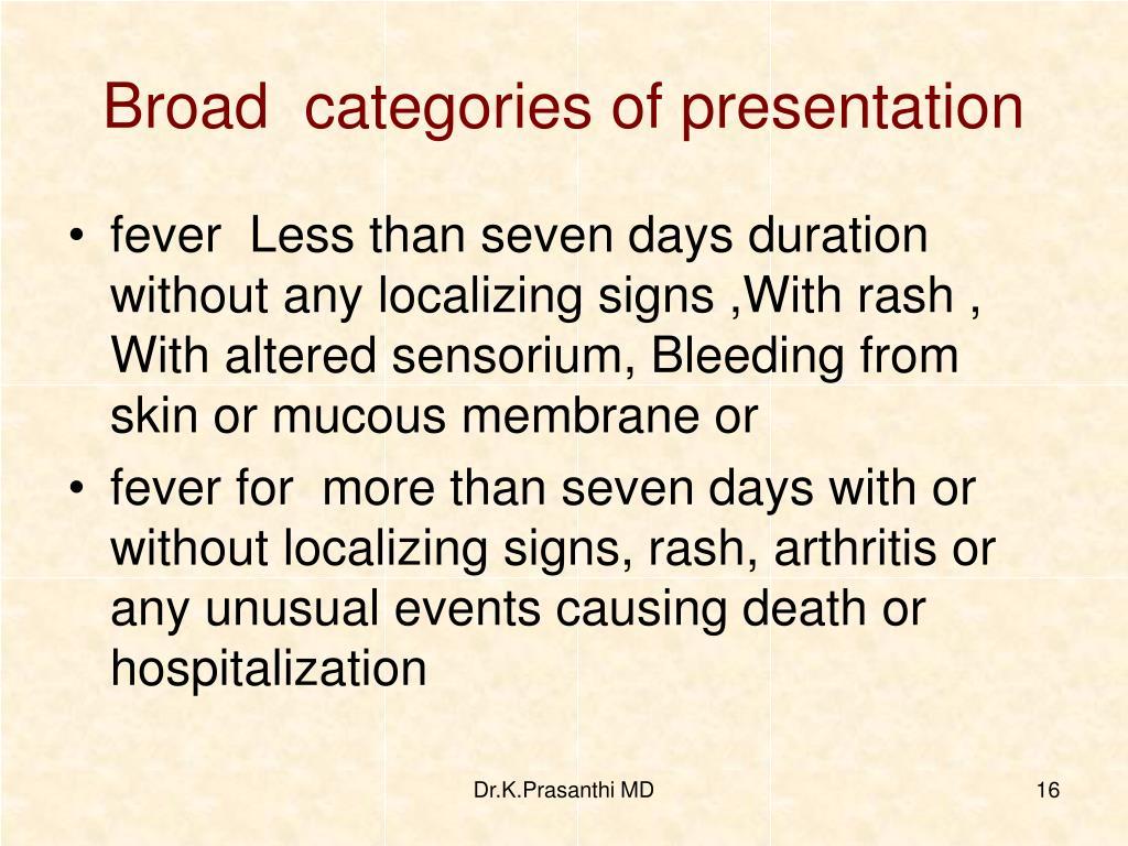 Broad  categories of presentation