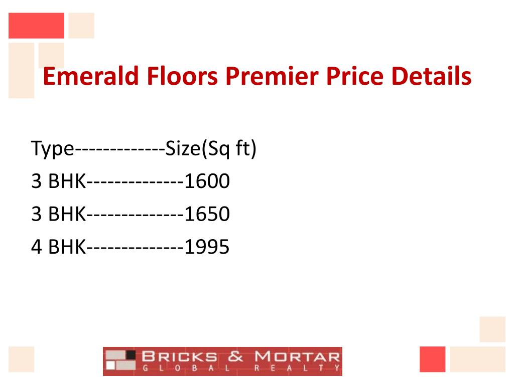 Emerald Floors Premier Price Details