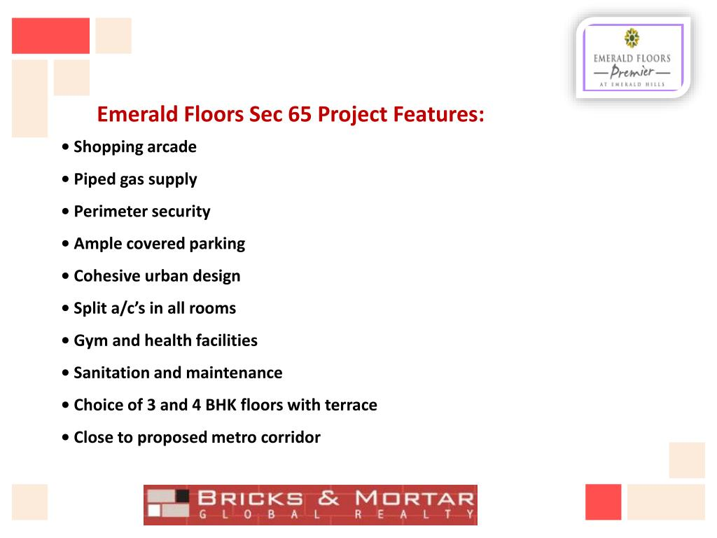 Emerald Floors Sec 65 Project Features: