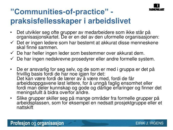 """""""Communities-of-practice"""" - praksisfellesskaper i arbeidslivet"""