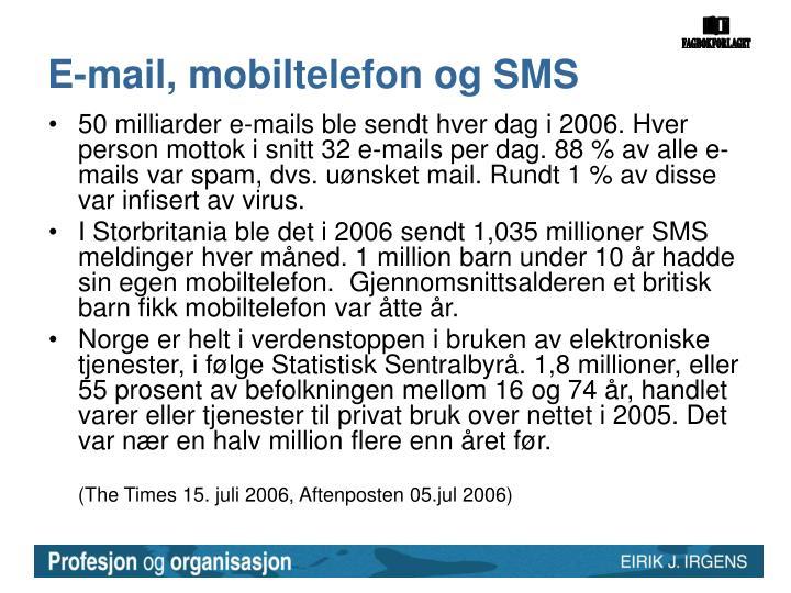 E-mail, mobiltelefon og SMS