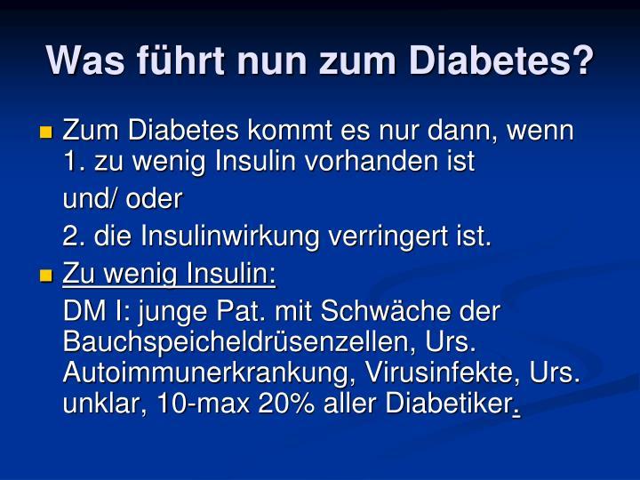 Was führt nun zum Diabetes?