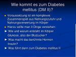 wie kommt es zum diabetes mellitus dm ii