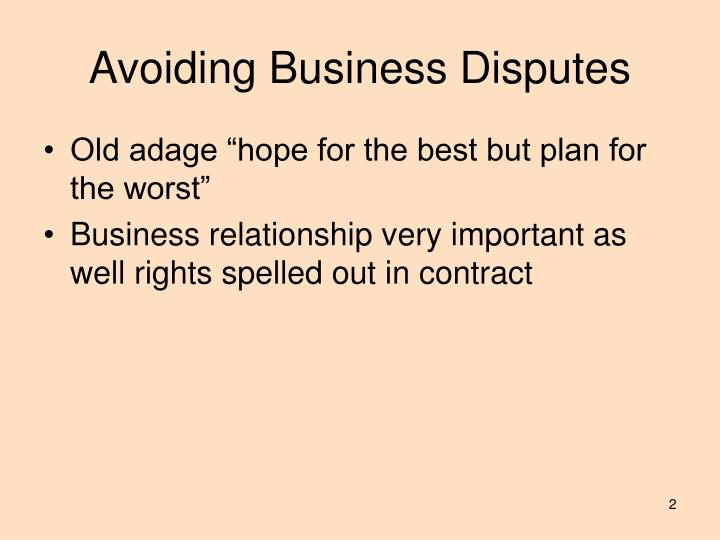 Avoiding business disputes