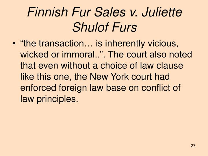 Finnish Fur Sales v. Juliette Shulof Furs